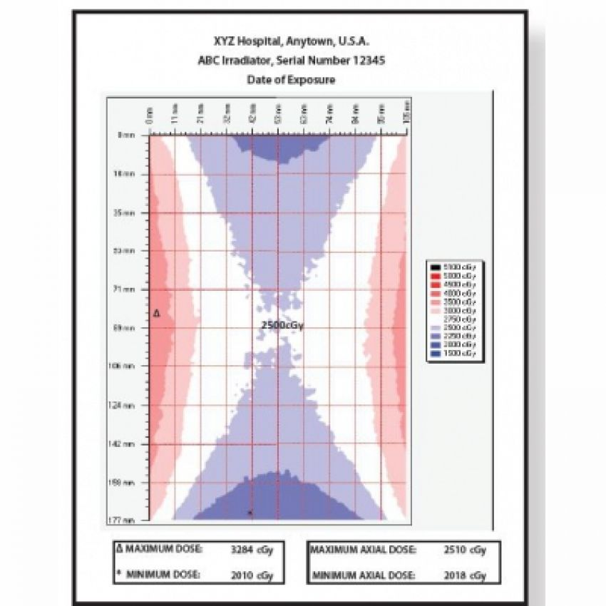 Dose map dosimetry system for blood irradiators